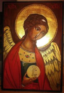 """Archangel Gabriel "", tempera on wood panel, 30 cm x 20 cm"